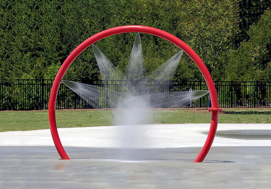 Aquatic play interactive water spray installation