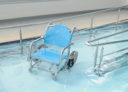 Aquatic Pool Wheelchair for hydrotherapy by AQUEAS model shown AQ-PWC001