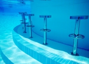 Pool Bar Stool by AQUEAS shown here installed underwater