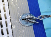 A innovative wet deck flip up anchor by AQUEAS installed