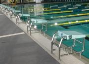 Starting platform for swimming pools Model AQ-SP04, for wet deck pools.