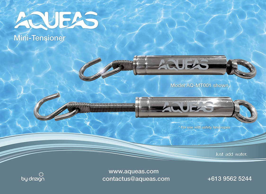 Compact design, mini tensioners for use with both stainless steel wire and rope lane dividers