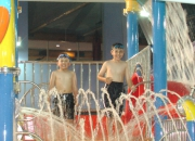 Aquatic play tower platform sprays & waterfall