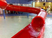 Aquatic play water slide installation