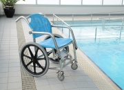 Swimming pool wheelchair to help disabled people with therapy